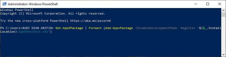 Perintah kedua Windows PowerShell