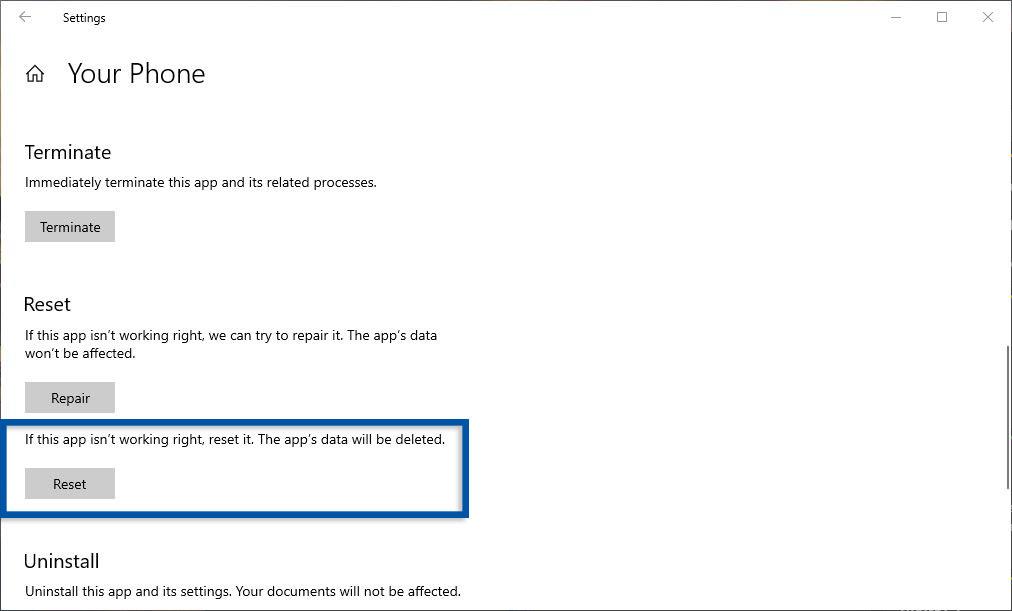 Reset Aplikasi Windows