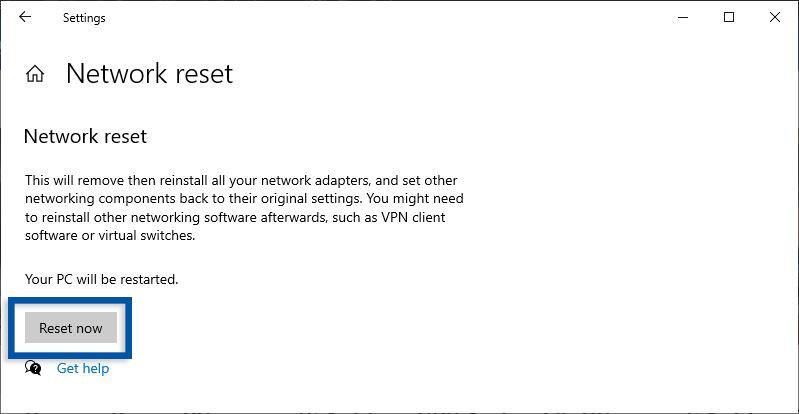 Reset Network Windows