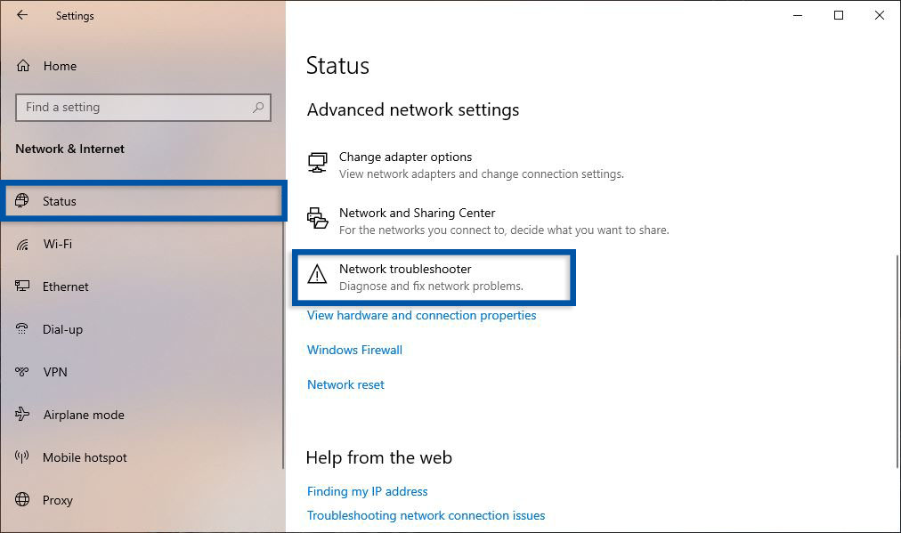 Settings Network Troubleshooter