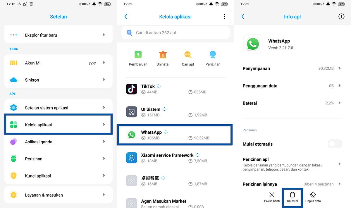 Menghapus Aplikasi Xiaomi