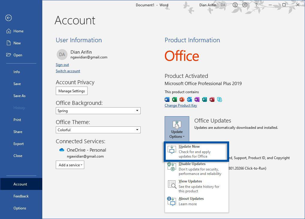 Perbarui Microsoft Office Windows