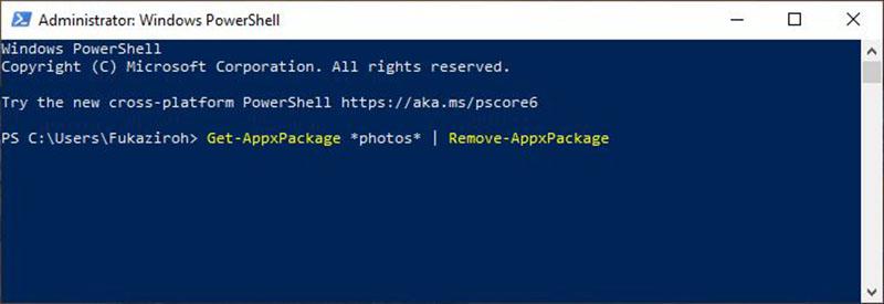 Uninstall Lewat Windows PowerShell