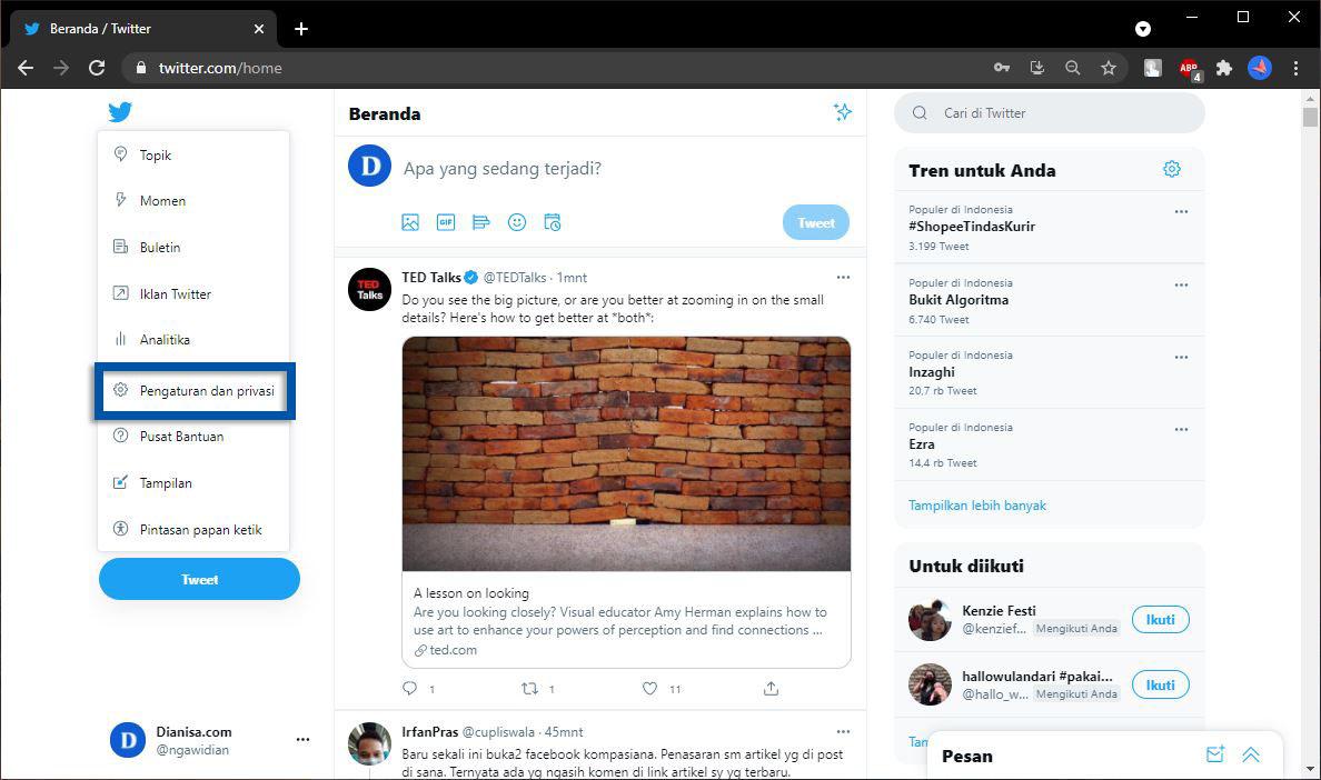 2 Pilih menu Pengaturan dan Privasi Twitter