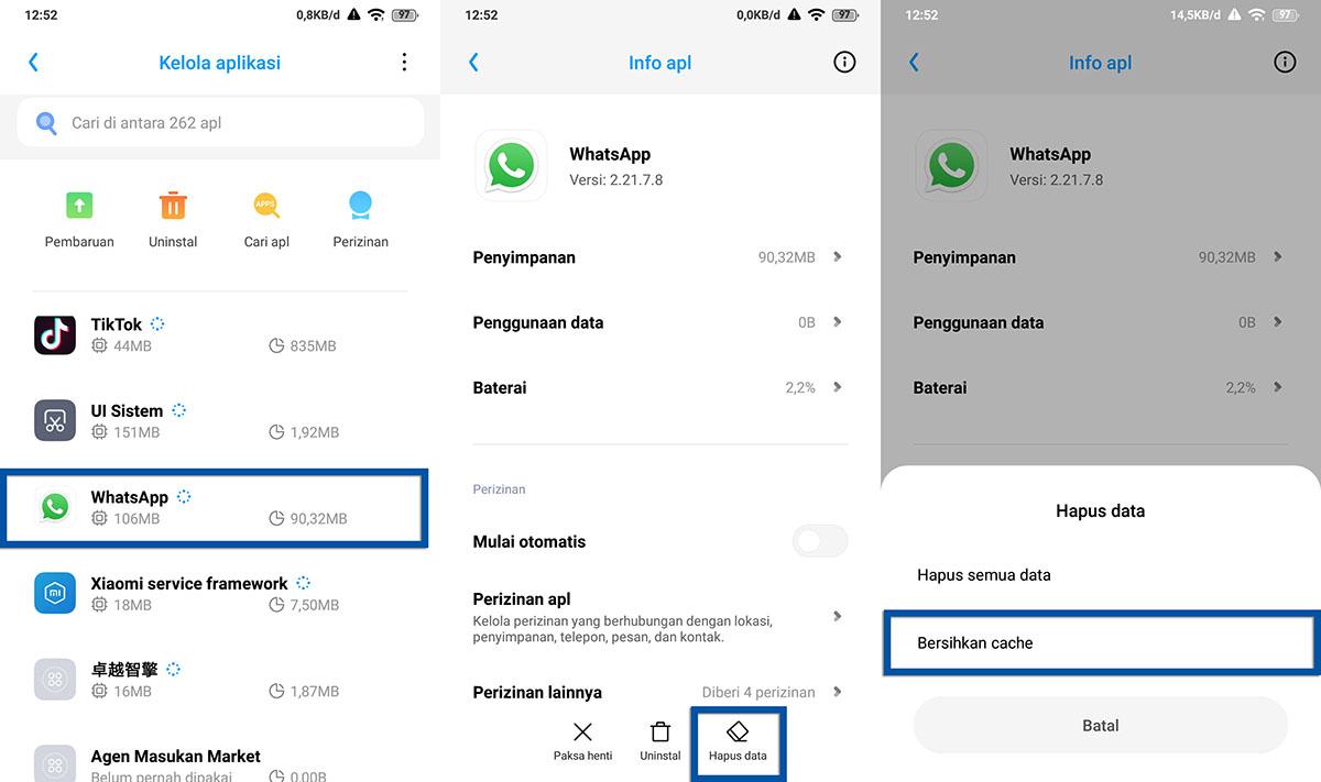 Hapus Cache Aplikasi Android