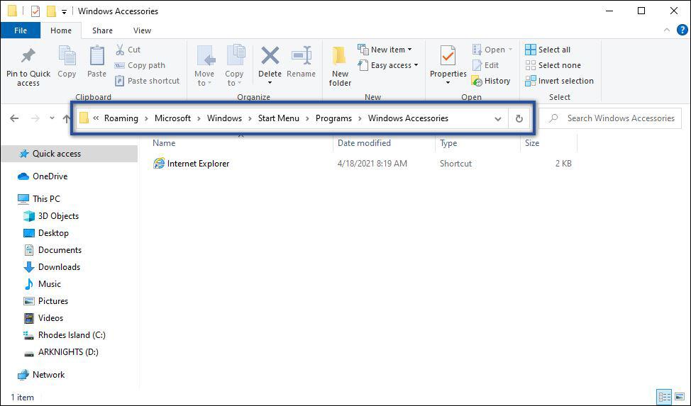 Memeriksa di Folder Windows Accessories