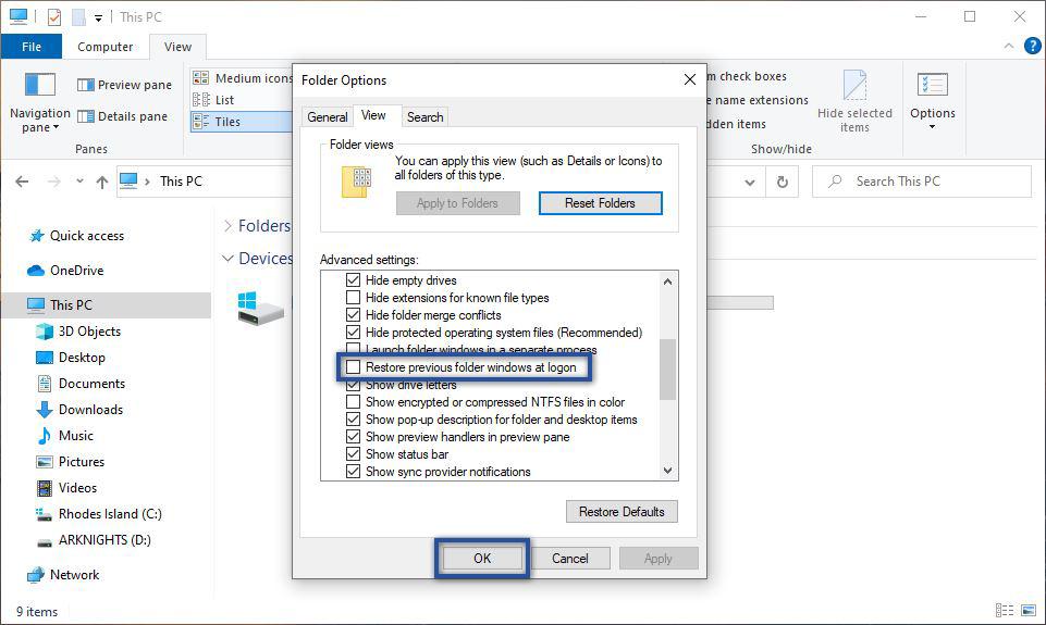 Restore Previous Folder Windows