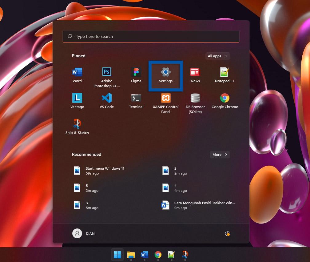 1 Buka menu Settings Windows 11