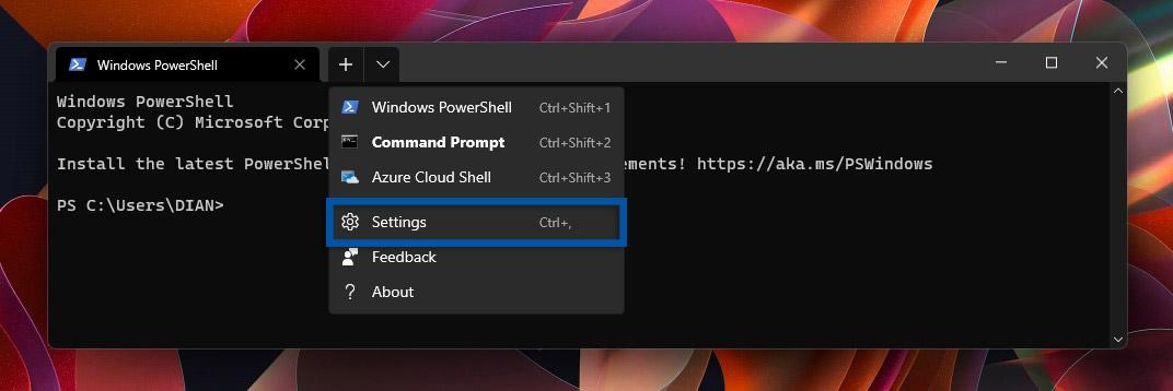 1 Buka menu Settings Windows Terminal