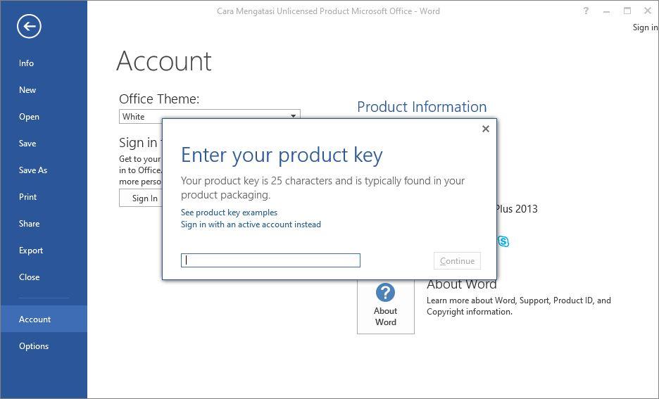 Product Key Microsoft Office