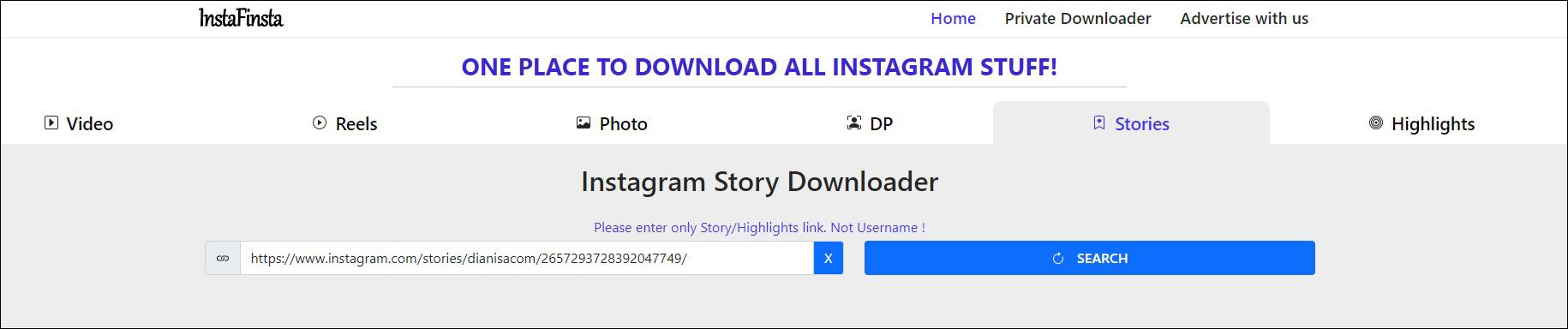 1 Masukkan link story Instagram