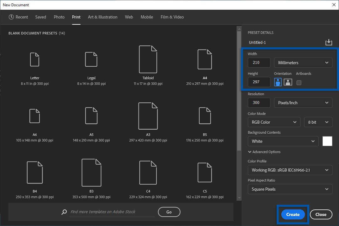2 Atur ukuran kertas A1 Adobe Photoshop