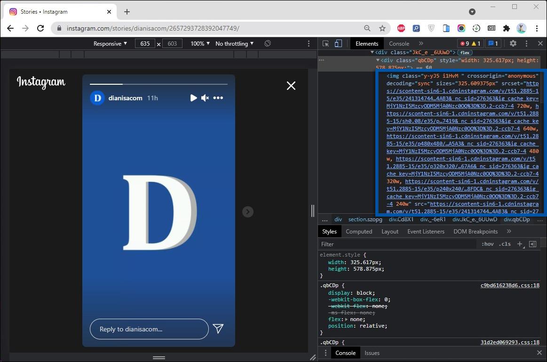 2 Temukan URL media dengan Inpect Elements Chrome