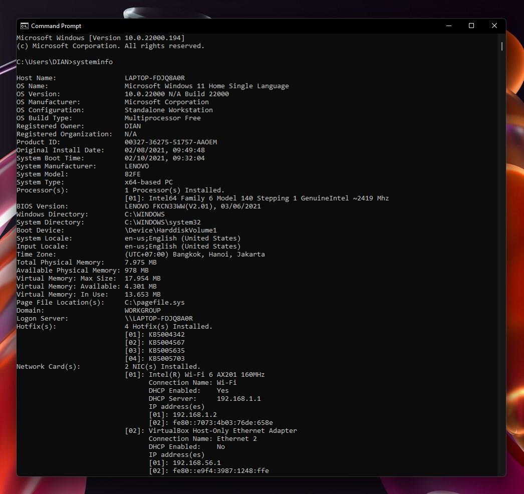 2 Perintah systeminfo CMD Windows 11