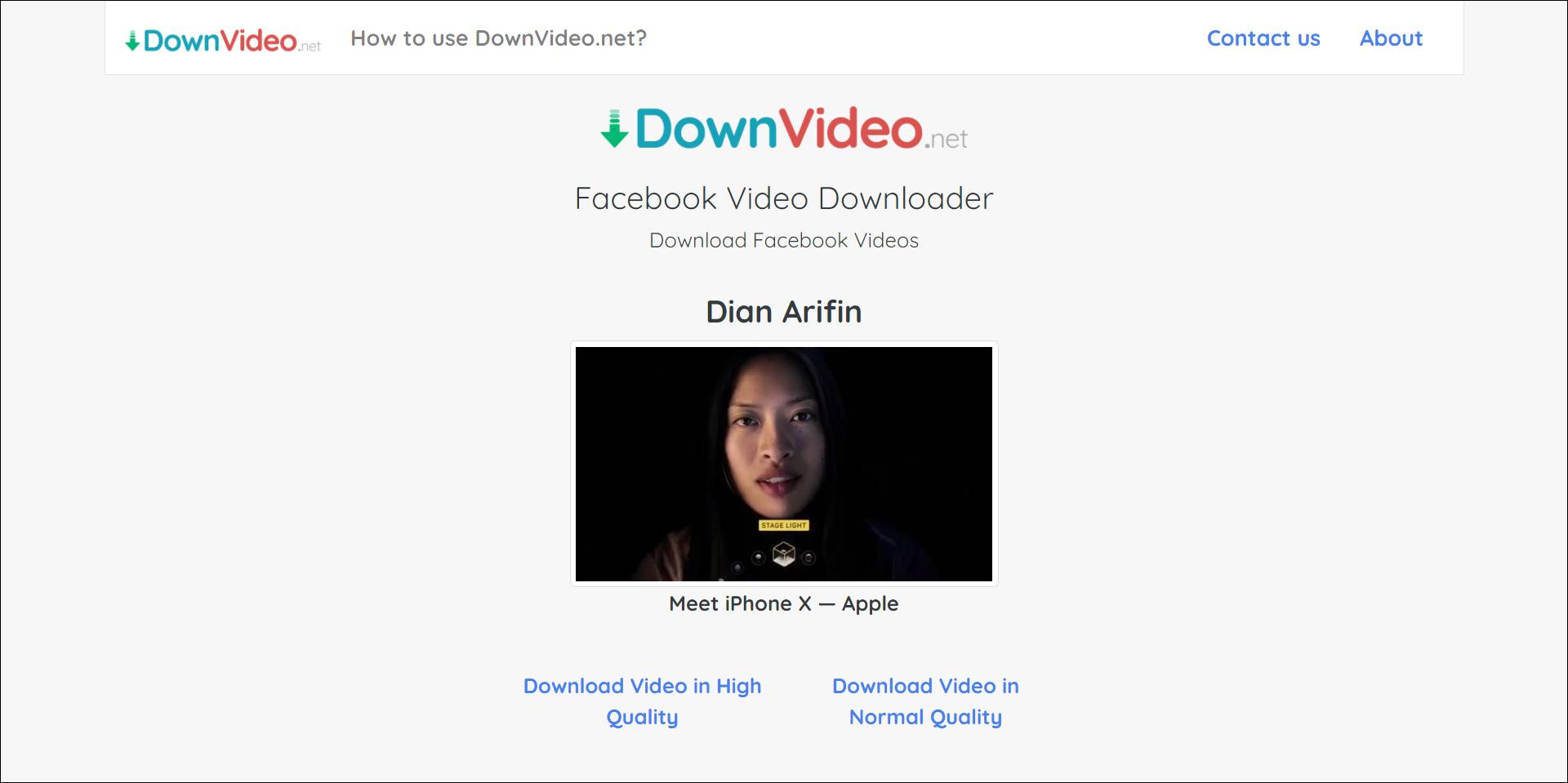 2 Unduh video Facebook dari DownVideo