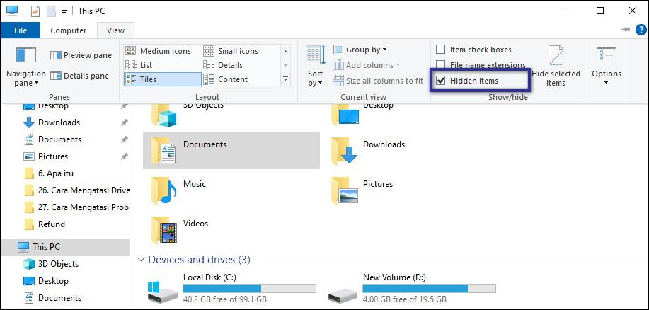 Hidden Items Windows Explorer