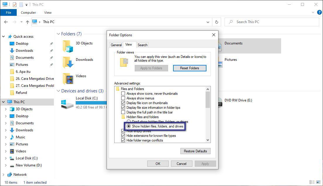 Show hidden files Explorer
