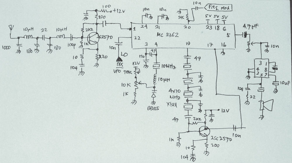 80m SSB Receiver using MC3362, DDS AD9835 Local Oscillator