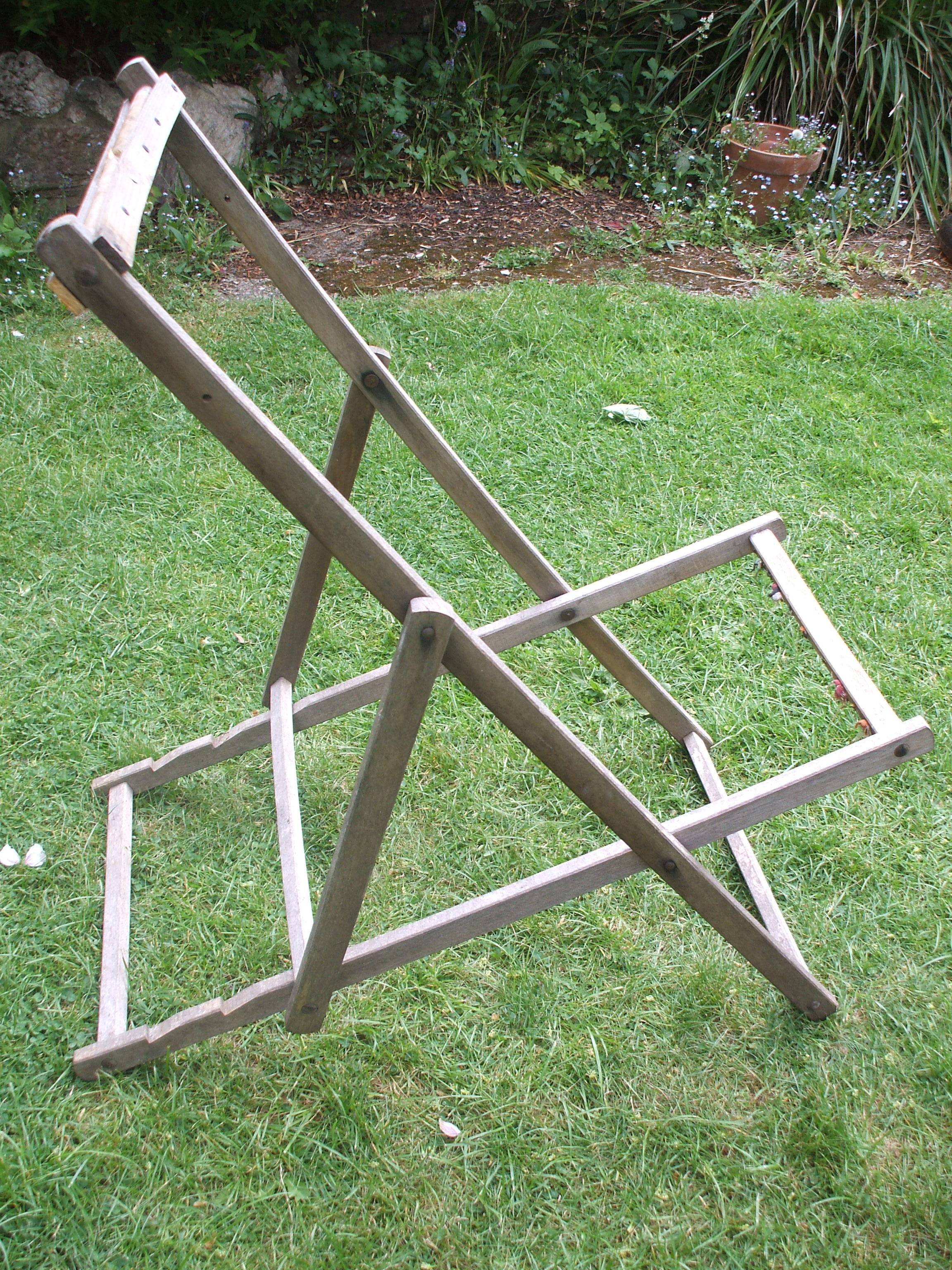 how to make a wooden beach chair wing recliner leather new onto the old canvas deckchair seat diannajessie here follows quick