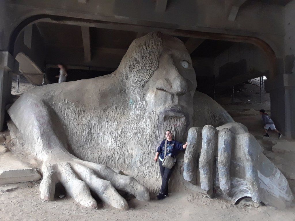 Troll sculpture under a bridge in Seattle