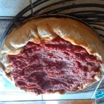 Finished deep dish pizza