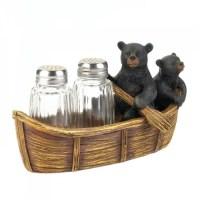 Black Bear Canoe Salt And Pepper Holder - UPC 849179029005