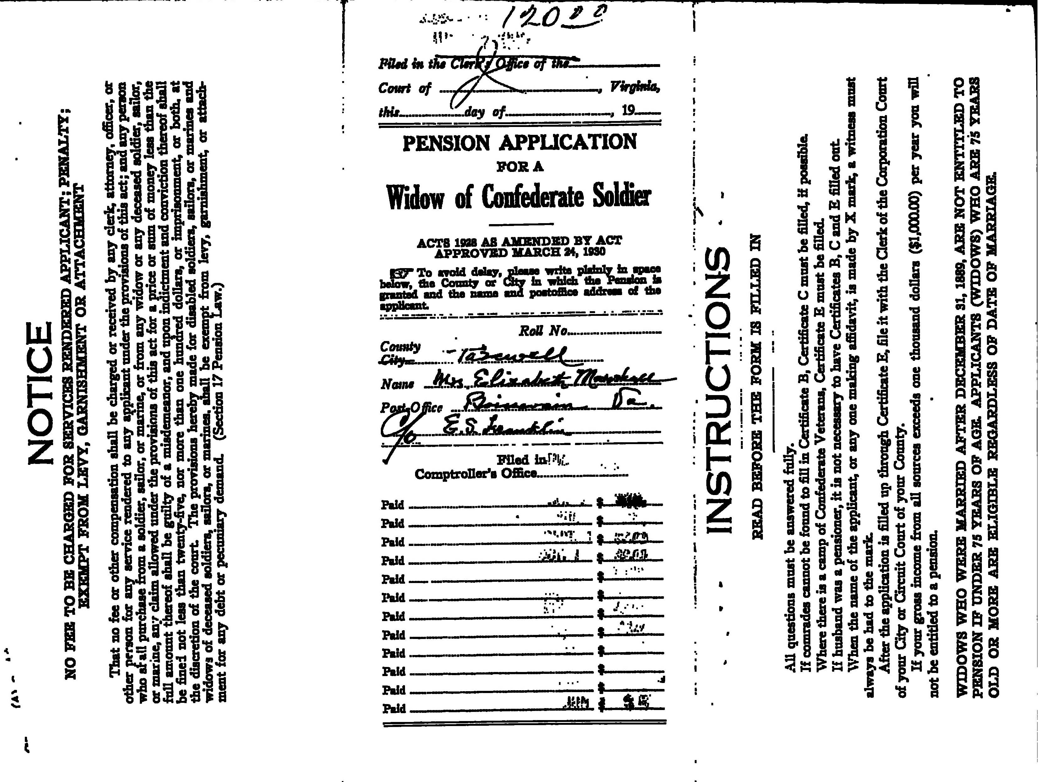 Civil War Pension Application by Hasten Marshall's Widow