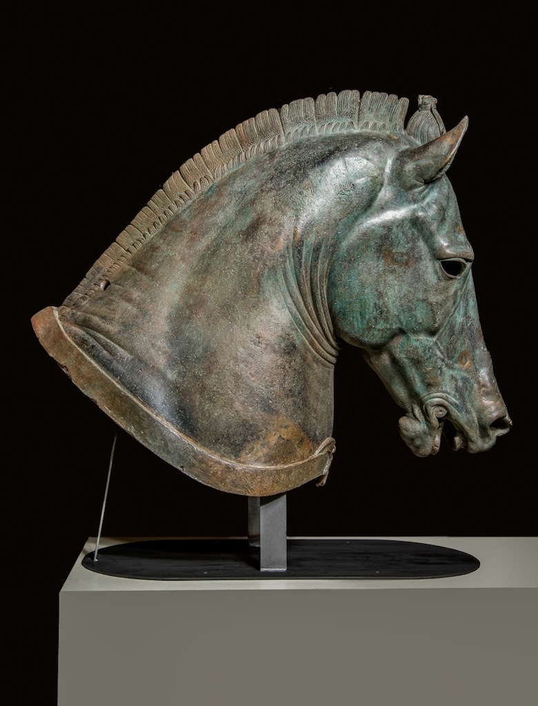 "Horse Head, ""The Medici Riccardi Horse,"" about 350 B.C., bronze and gold. Museo Archeologico Nazionale, Firenze (Soprintendenza per i Beni Archeologici della Toscana). Photo: Antonio Quattrone (from the Getty's page on the Power and Pathos exhibition)."