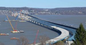 Aerial view of Tappan Zee Bridge and new bridge, as of late March 2016. Photo: New York State.