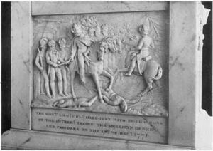 Capture of Major General Charles Lee by the British, from a monument to ___ Harcourt. Image: ____