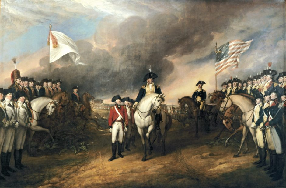 Trumbull, Surrender at Yorktown, painted 17__. According to Flexner in Young Hamilton, the figures standing at the far right are Hamilton (near the edge of the painting) and John Laurens.
