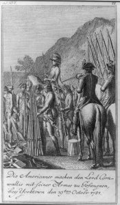 British surrendering arms at Yorktown, from a German print.