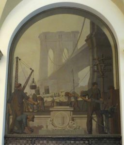 """Eighth mural: """"Steel - Electricity."""" Fantastic image of the Brooklyn Bridge, with a steamship passing beneath. Photo copyright (c) 2016 Dianne L. Durante"""