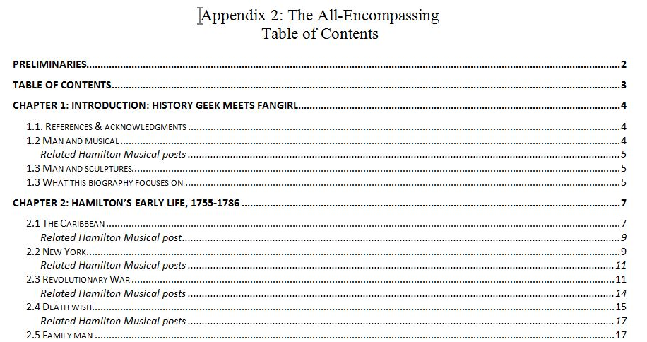 Beginning of the full-length table of contents for Alexander Hamilton: A Brief Biography.