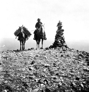 William Henry Jackson photo of Mount Washburn, probably taken during the Hayden Expedition of 1872, which included photographer Jackson and painter Charles Moran. The visual images created by Jackson and Moran were instrumental in persuading Congress to create Yellowstone National Park. (Library of Congress photo in the public domain).