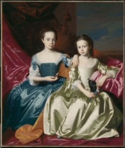 John Singleton Copley rarely painted children, but likely couldn't refuse the commission from Isaac Royall for the portrait of his two daughter.  The Royall family amassed a fortune trading slaves and merchandise. By the 1750s, Isaac Royall was one of the wealthiest men in New England.