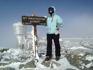 Standing on the summit of Mount Washington earlier this winter.  Temps minus 20ish.  Do I look maniacal?