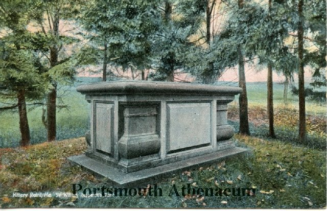 A postcard depicting the Pepperrell Tomb circa 1910-1920, when the tomb was a tourist attraction for the thousands of visitors who stayed in Kittery's five Gilded Age hotels.
