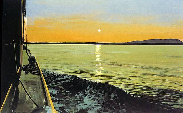 Mount Desert III, 1996, by Richard Estes.  The Portland Museum of Art is exhibiting a major retrospective collection of Estes' work this summer (2014).