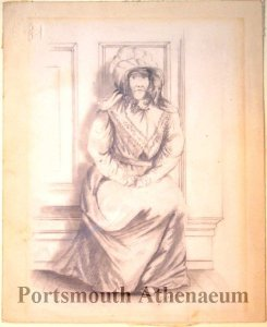 Drawing of Sally Cutts attributed to artist Albert W. Fiske (Portsmouth Atheneum Collection)