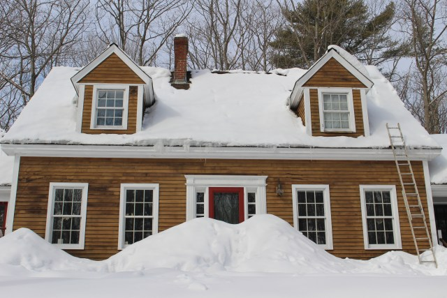 We're pretty snow in this year, but perhaps not so much as in February of 1717.  Our Cape is a larger version of a typical New England house from the period, with some added details (like Georgian portico  on front door) that don't quite fit.  (Not to mention the power lines and garage).