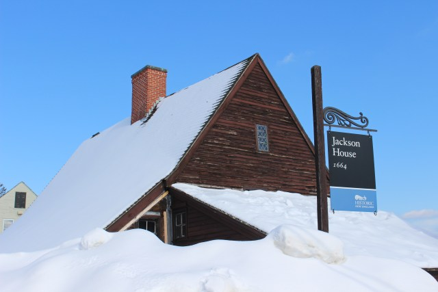 The 1664  Jackson House, the oldest surviving house in Portsmouth, NH, appears buried from this angle.  Then as now, the snow provided insulation, until it began to melt and cause lots and lots of trouble.