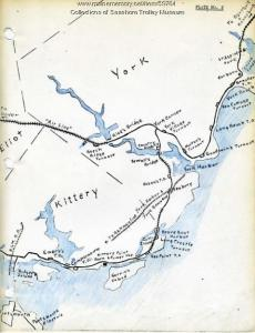 This hand-drawn map shows the Routes of the different trolley lines in Kittyer and York, including the Portmouth, Kittery and York Electric Railway (PK & Y) line that hugged the coast and then crossed over Brave Boat Harbor. The trolleys ran until 1923, when the new Memorial Bridge facilitated the rise of the automobile (Seashore Trolley Museum Collection).
