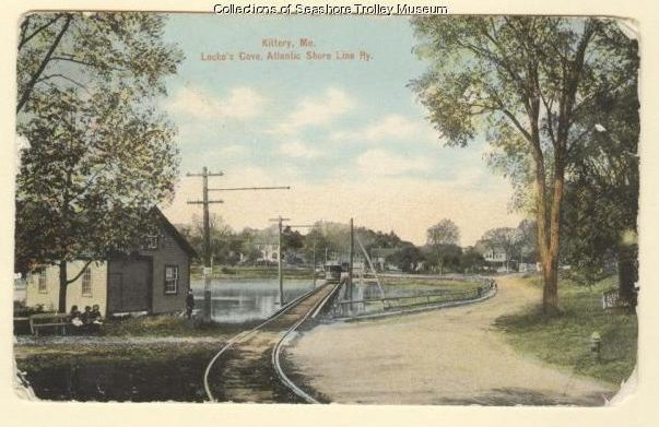 This circa 1910 postcard shows an Atlantic Shore Line trolley crossing Locke's Cove. The KKK ceremony and cross burning occurred somewhere in this vicinity (Postcard from collections of Seashore Trolley Museum).