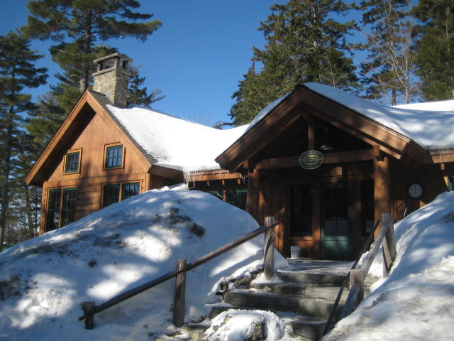 Gorman Chairback Lodge, on the shores of Long Pond. In the summer and fall, you can drive to the Lodge, but winter access is by ski or snowshoe, or, for those who wish to, snowmobile taxi.