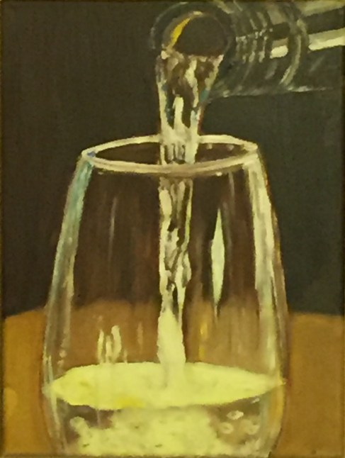 "A Glass of White (2015) - 13x9"", oil on canvas (sold)"