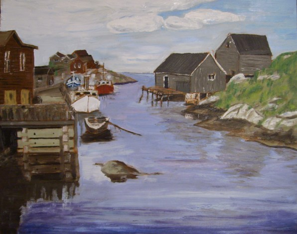"Leaving Peggy's Cove (2012) - 16x20"", oil on board (sold)"