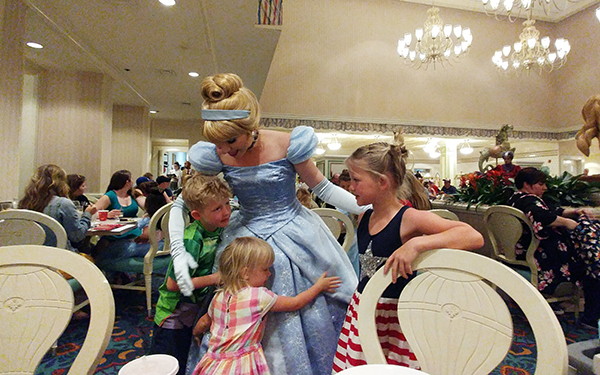 1900 Park Fare, Grand Floridian, Cinderella, Evil Stepsisters, Lady Tremaine, Drizella, Anastasia, Diapers on a plane, family travel, traveling with kids, creating family memories