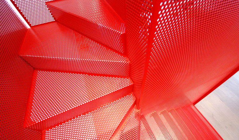 Hanging Red Stairs Michaelis Boyd Associates Elvaston