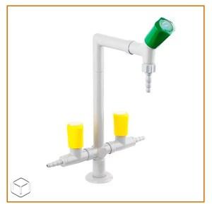 REF 5000/10 Columna con 2 grifos de gas y uno de agua. Montaje en mesa